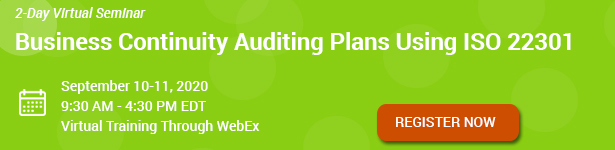 Business Continuity Auditing Plans Using ISO 22301